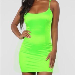Satin Mini Dress - Neon Green